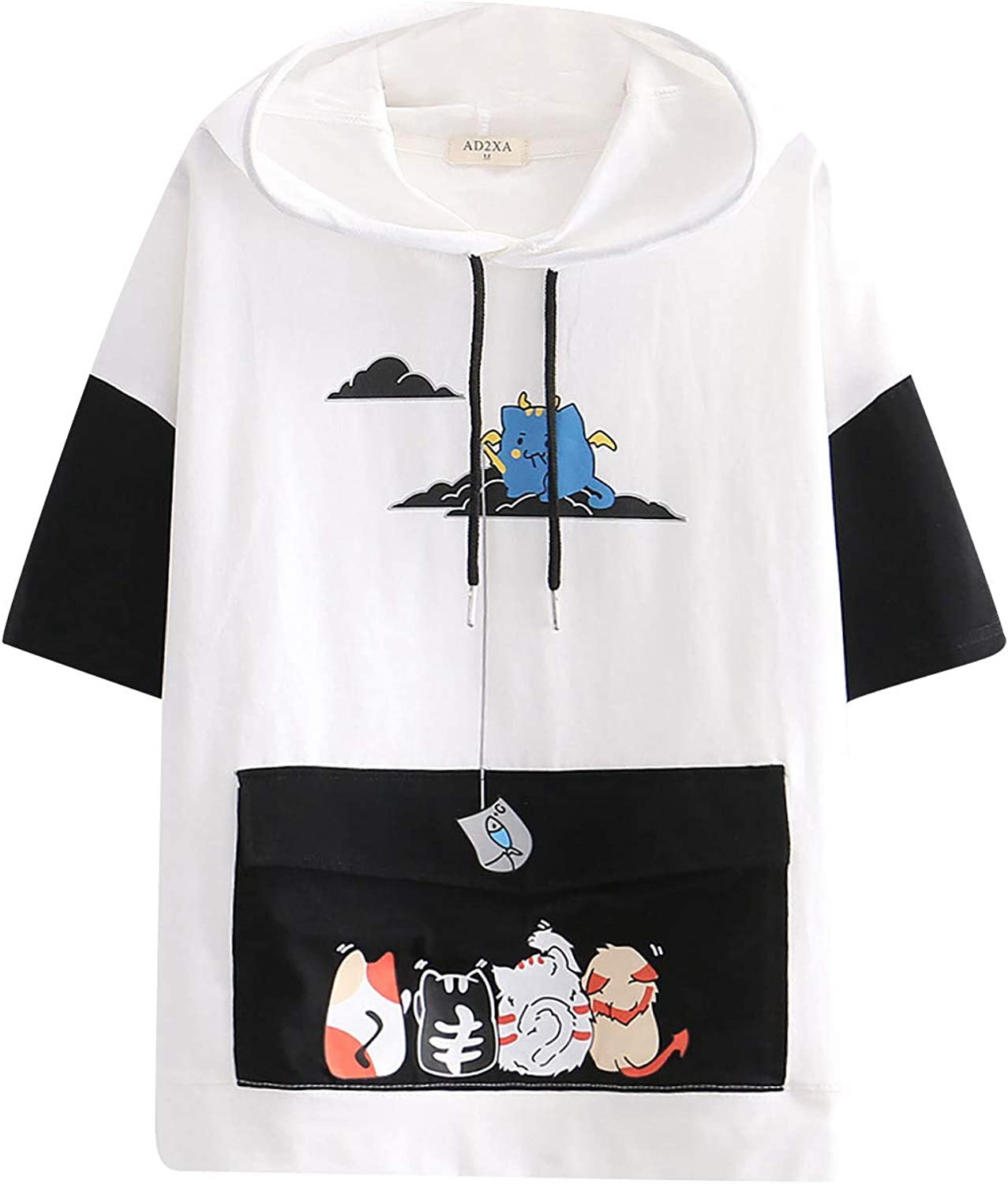 Womens Tops and Blouses,Women T-Shirt Short Sleeve Cute Cat Ear Drawstring Hooded Sweatshirt Graphic Blouse Tee Pullover