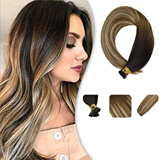 Youngsee 20inch Remy I Tip Hair Extensions Human Hair Darkest Brown to Medium Brown with Golden Blonde I Tip Fusion Ombre Human Hair Extensions 50gram Per Pack