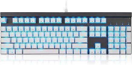 USB Wired 104 Key RGB Backlit Mechanical Gaming Keyboard Outemu Blue//Red Switch White Black Compact Computer Keyboard Color : White, Size : Blue Switch DERTHWER Gaming Keyboard