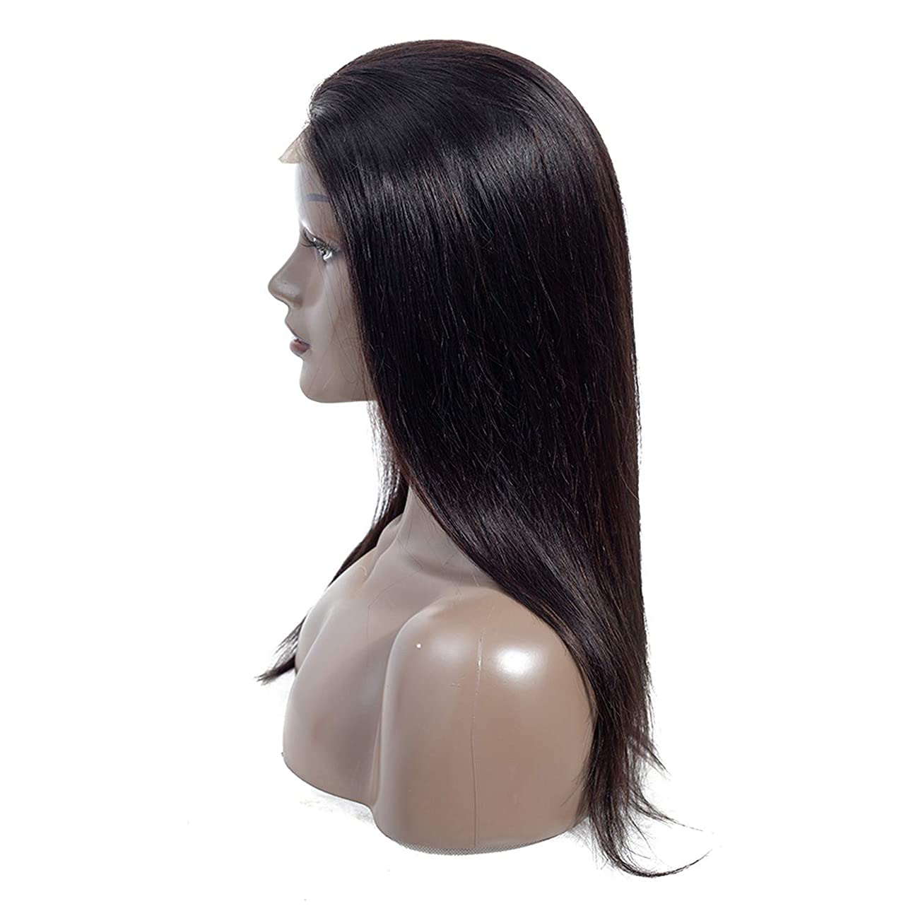 Cherryi Mongolian Straight 100% Human Hair 44 Lace Front Wigs Non Remy Natural Color 10-22 Inch,14inches