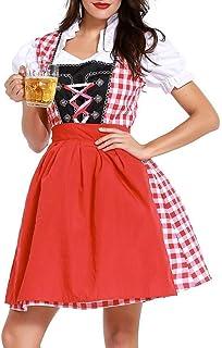 PPangUDing Mädchen Dirndl PPangUDing Kleid Maid Oktoberfest Kostüm Bierfest Zofe Midi Bayerische Kellnerin Cosplay München Bier Abendkleid Trachtenbluse Retro Gothic Cocktailkleid S, rot