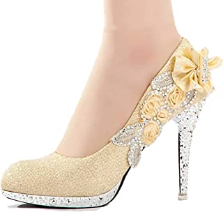 getmorebeauty Women s Silver Lace Flower Pearls Closed Toes Wedding Shoes  Pumps 2059467b1599