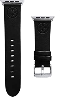 Game Time Pittsburgh Steelers Black Leather Band Compatible with Apple Watch - 38mm/40mm Long Length