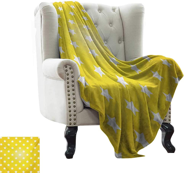 LsWOW Blanket Storage Yellow,Bursting Vibrant Hanging Stars Fun Retro Kids with Graphic Design Artistic Print,White Yellow Super Soft Faux Fur Plush Decorative Blanket 50 x60