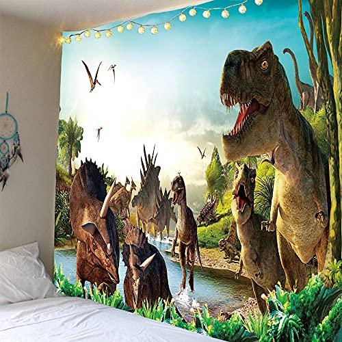 YIEBFY tapizTapiz de Dinosaurio Antiguo Parque Jurásico Mundo de Dinosaurios Impresión de poliéster decoración de Pared Tela Colgante decoración de Escena Colgante