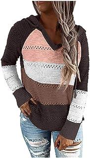 XIELH Suéter con Capucha Y Cuello En V De Otoño para Mujer, Suéter De Punto De Manga Larga Informal, Suéter Superior A Ray...