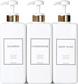 HARRA HOME Modern Gold Design Pump Bottle Set 27 oz Refillable Shampoo and Conditioner Dispenser Empty Shower Plastic Bottles with Pump for Bathroom Lotion Body wash Massage Oils, Pack of 3 (White)
