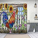 NYMB Inbetweening Rooster Decor, Village Farm Chicken and Sunflowers in Wooden Shower Curtain, Polyester Fabric American Animals Shower Curtains for Bathroom, Bath Curtain Hooks Included, 69X70 in