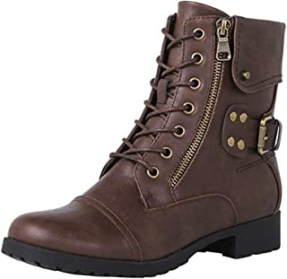 Women's Classic Rivet Lace Up Round Toe Low Heel Ankle Boots Ladies Comfortable Concise Shoes