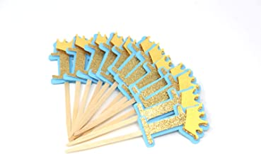 All About Details CUTCTH1 Crown Theme 1 Cupcake Topper, Set of 12 (Light Blue & Gold), 2 x 4,