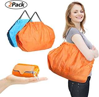 Reusable Grocery Bags Dorathye Foldable Waterproof Shopping Bags Large Capacity Holds Heavy Groceries Tote Bag Eco-Friendly Washed Bag (Orange+Blue)