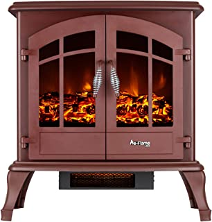 e-Flame USA Jasper Free Standing Electric Fireplace Stove - 3-D Log and Fire Effect (Rustic Red)