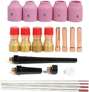 Alffun 21PCS TIG Welding Torch Gas Lens Collets Alumina Nozzles Back Cap Kit For WP-17/18/26