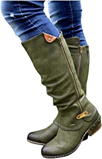 GHrcvdhw Winter Stylish Western Retro Style Cowboy Zip Knight Boots Casual College Solid Color High Tube Women Boots