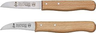 RÖR Omas Lot de 2 couteaux à éplucher et de cuisine en fonte avec manche en bois de hêtre Fabriqué à Solingen.