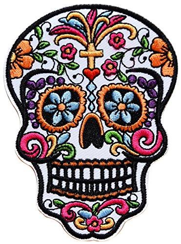 topt mili Tete de Mort Crane Mexicain Croix catholique Écusson brodé Ecussons Imprimés Thermocollants Broderie Vetement Ecusson 10x7,5cm