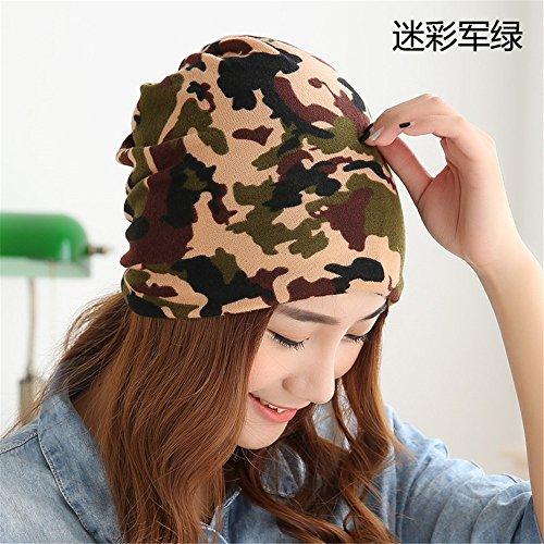 Vrouwen set kinderen hoofd cap dunne breien cap paal cap van Baotou winter maand cap cap cap letter mannelijke vrije tijd dames [56cm] elastische kop, 56cm hoofd],Camouflage groen