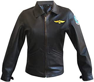 Womens Charlie Top Flight Aviator Black Leather Jacket - Pilot Bomber Jacket