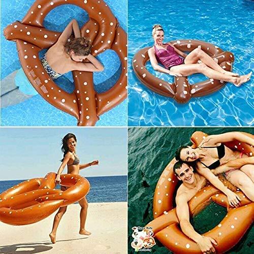 Flotador De La Piscina Inflable Gigante del Pretzel del Anillo del Flotador De La Nadada De Juguete Que Nada Anillo del Agua del Verano Balsa Inflable Juguetes De Playa Brown-150 * 140CM