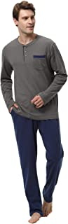 comprar comparacion Aibrou 100% Algodón Pijamas Hombre Invierno Mangas Largas Pantalones Largo, Simple y Cómodo