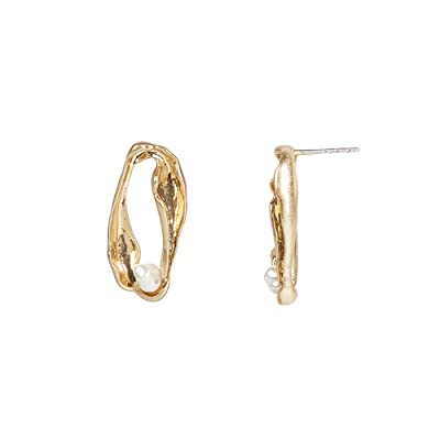 Rebecca Minkoff Organic Metal and Pearl Mini Earrings (Gold) Earring