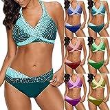Bikinis Mujer 2019 Brasileños SHOBDW Bañadores de Mujer Dos Piezas Conjunto de Bikini Push Up Sexy Tangas Impresión de Lunares Tallas Grandes Traje de Baño Mujer Cintura Alta(Verde,5XL)