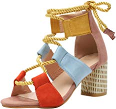 Sandalias Mujer Verano 2019 Tacon Alto 6.5CM Sandalias Romanas Cuerda De Cáñamo Zapatos Gladiador Punta Abierta Sexy Azul Negro Rosa Naranja Lunares EU 35-43