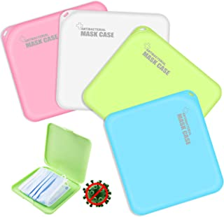 4PCS Boîtes de Rangement de Masque Portables en Plastique avec Couvercles, boîte de Rangement pour Masque Anti-poussière p...