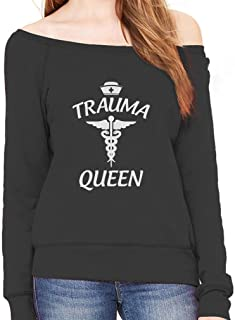 Trauma Queen Gift for Doctor, Nurse or Medical Staff Off Shoulder Sweatshirt