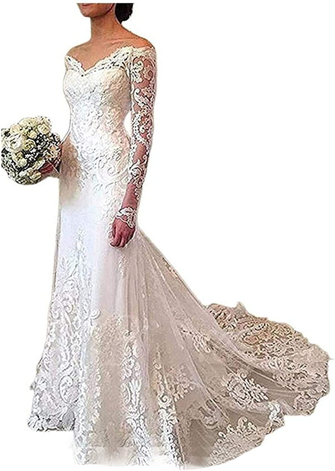 iluckin Women's Off Shoulder Long Sleeves Mermaid Lace Wedding Dress with Train for Bride Bridal Gown