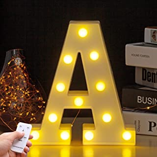 Youzone LED Marquee Letter Lights Alphabet Light Up Sign with Remote Control Timer Dimmable (A)