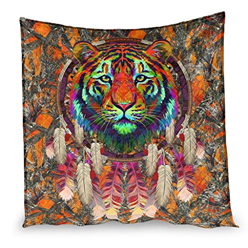 OwlOwlfan Native America Animal Tiger Oranger Super Soft Lightweigt Hypoallergenic Summer Duvet Travel Blanket for Winter Additional Warmth white 173x203cm