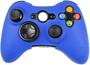 Silicone Protective Skin Case Cover for Microsoft Xbox 360 Wireless / Wired Controller + Thumb Sticks Caps Grips,Deep Blue