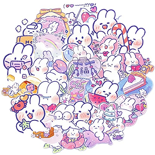 LMY 30 unids lindo conejo crema personalizado pvc impermeable Ins dibujos animados etiqueta engomada equipaje teléfono móvil Notebook Ipad agua taza etiqueta