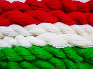 2 Pack Combo Red Green White Christmas Holiday Thin Fingering/Lace Weight Knitting Crochet Yarn