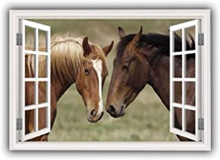 MySticky Horses 3D Fake Window Wall Sticker, Removable Vinyl Decal Frame, Peel and Stick, Art Mural for Bedroom, Living Ro...