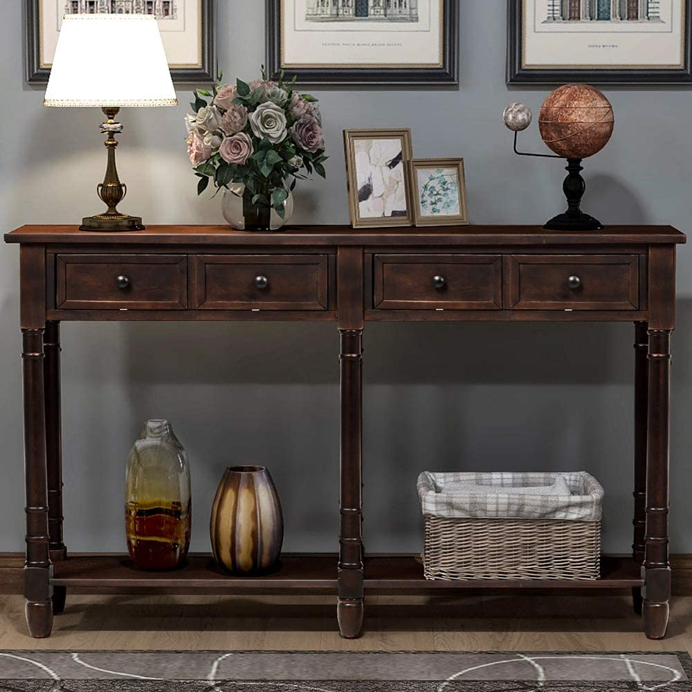 Teeker Console Table OFFicial site Sofa Easy Storage Two Atlanta Mall with D Assembly