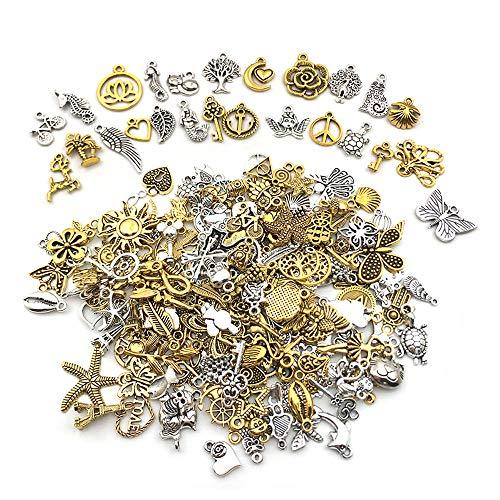 Nsiwem Charms anhänger 200 Stück gemischte Charms Anhänger DIY Schmuckanhänger Zinklegierung Anhänger Schmuckzubehör Set für Halskette Anhänger, Schmuckherstellung Antik Silber&Golden