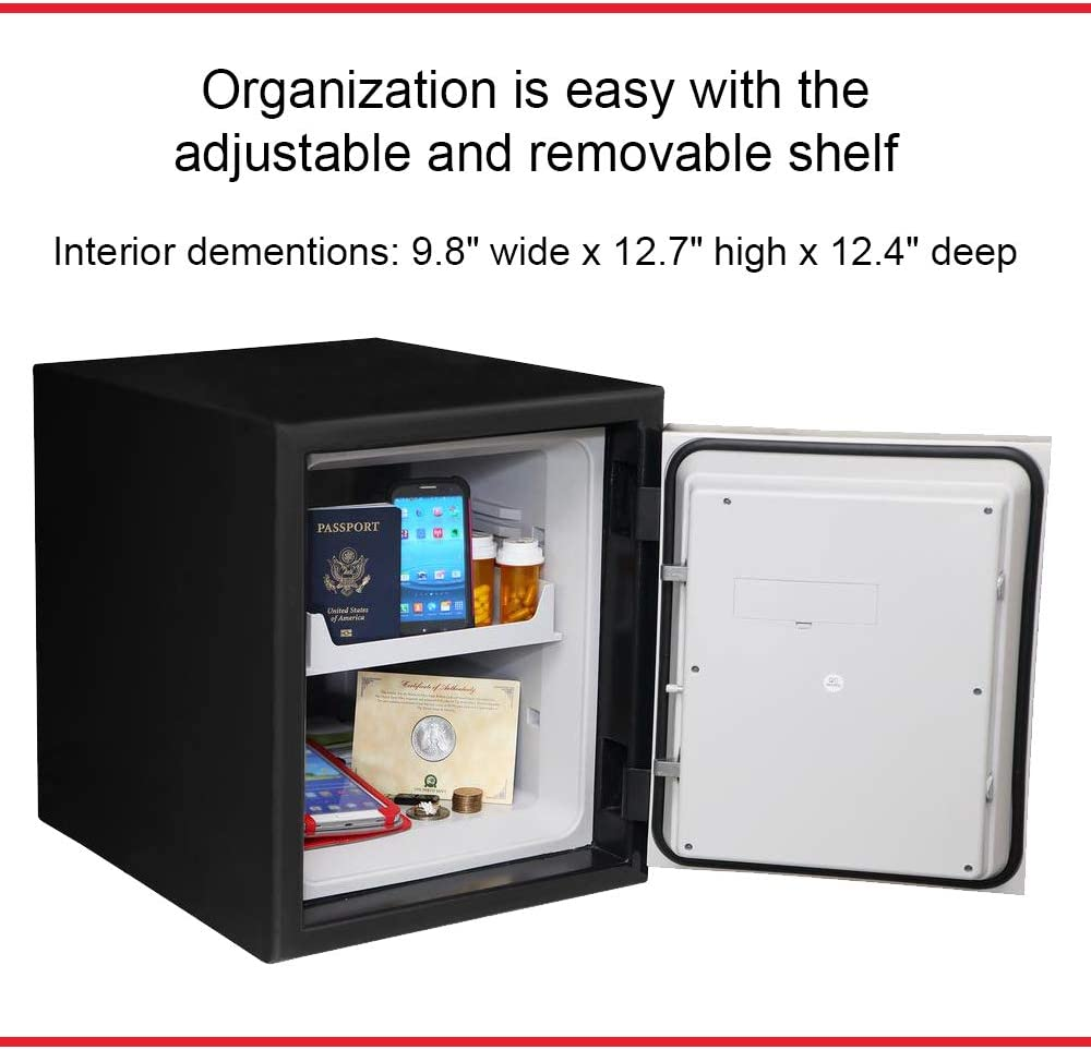 Black 21.3 Inches High; 18.1 Inches Wide; 20.9 Inches Deep Honeywell Safes /& Door Locks 2607 Steel Submersible Waterproof 2 Hour Fire Safe; Digital Lock; Motion Alarm; 1.74 Cubic Feet Capacity