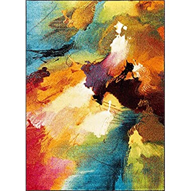 Vida Contemporary Abstract Multi-Color Rectangle Area Rug, 5' x 7'