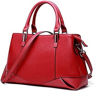 Fashion Women's Solid Color Genuine Leather Handbag Fashion Cowhide Messenger Bag Ladies Shoulder Bag Crossbody Bag (Color : Red)