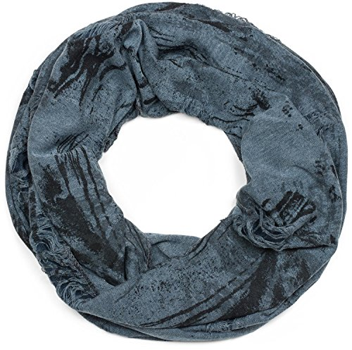 styleBREAKER Loop Schal gemustert im Destroyed Vintage used Look, Schlauchschal, Tuch, Unisex 01016150, Farbe:Jeansblau