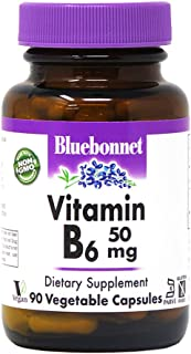 Bluebonnet Nutrition Vitamin B6 Vegetable Capsules, 50 mg, for Cardiovascular and Nervous System Health, Soy Free, Gluten ...