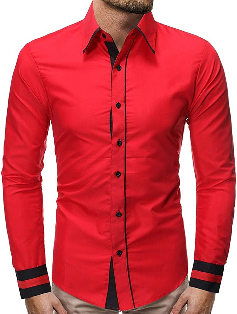 MODOQO Men's Slim Fit Big and Tall Casual Button Down Dress Shirt Long Sleeve Tops
