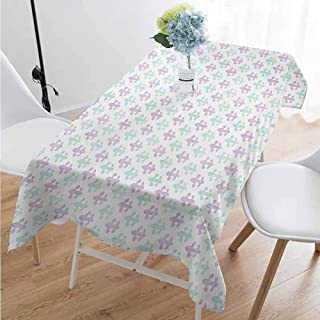 Fleur De Lis Rectangular tablecloths in a variety of colors and sizes Abstract Old Fashioned Lily Flowers with Grunge Look Pastel Colors Can be used for parties W70 x L84 Inch Mint Green Lilac White
