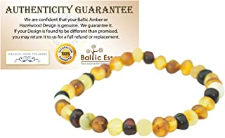 8 inch Healing Arthritis Carpal Tunnel Baltic Amber Bracelet Adults Raw Multi Milk Honey Cognac Stretch Anti-inflammatory, Carpal Tunnel, Back, Head, Tooth Aches Swelling General Aches and Pains.