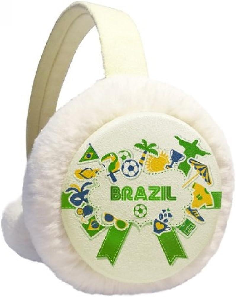 Soccer Football Brazil Cultural Winter Ear Warmer Cable Knit Furry Fleece Earmuff Outdoor