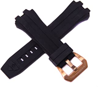 Swiss Legend 28MM Black Silicone Watch Strap Stainless Steel Rose Gold Buckle fits 49mm Challenger Watch