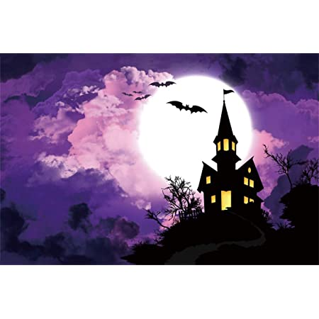 Yeele Halloween Photography Backdrop 10x8ft Dreamy Blue Moon Blue Night Sky Enchanted Castle Background Trick or Treat Events Acting Show Photo Portrait Studio Props Digital Wallpaper