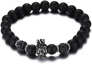 Mengpa Mens Womens Beaded Bracelets Stone Lava Rock Lion Head Crown Healing Energy